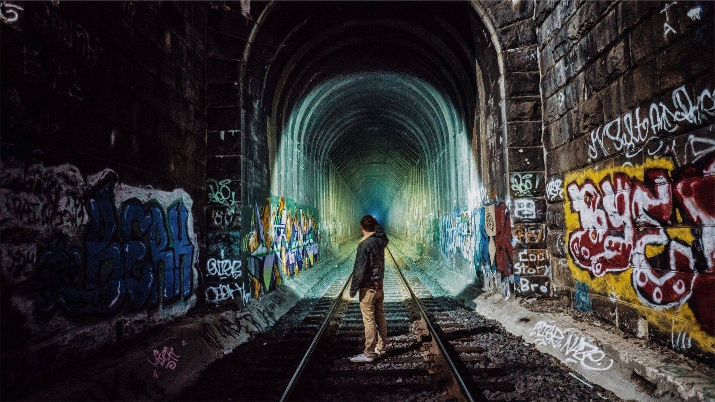 Graffiti im Tunnel.
