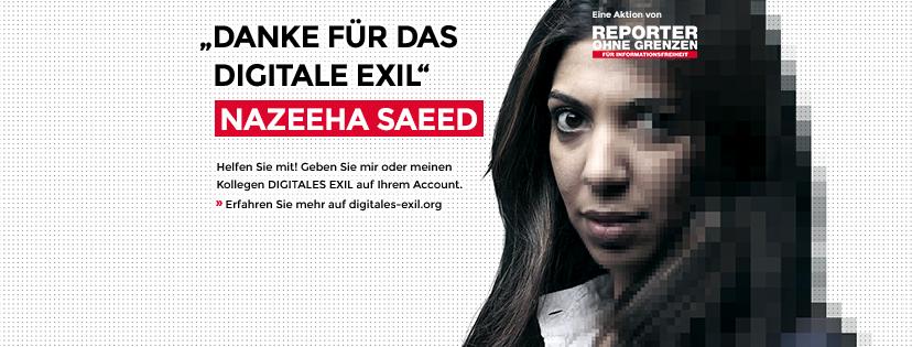Nazeeha Saeed - Digitales Exil. Facebook Titelbild. Aktion Reporter ohne Grenzen.