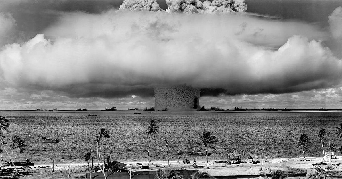 Beim Baker-Test auf dem Bikini-Atoll 1946 wurde eine Atombombe gezündet. Foto: Gemeinfrei