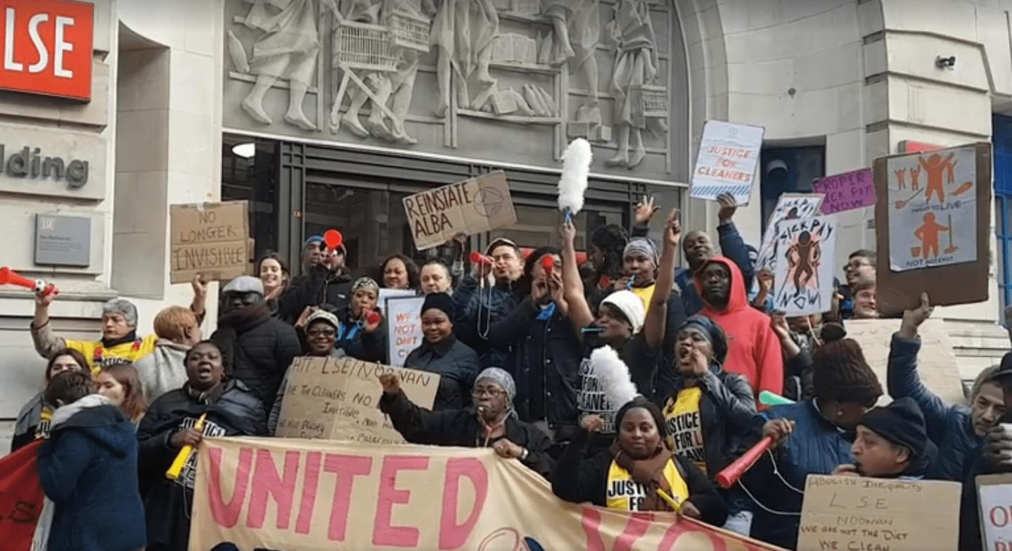 Streik der Gewerkschaft United Voices of the World (UVW Union) an der London School of Economics am 11. Mai 2017.