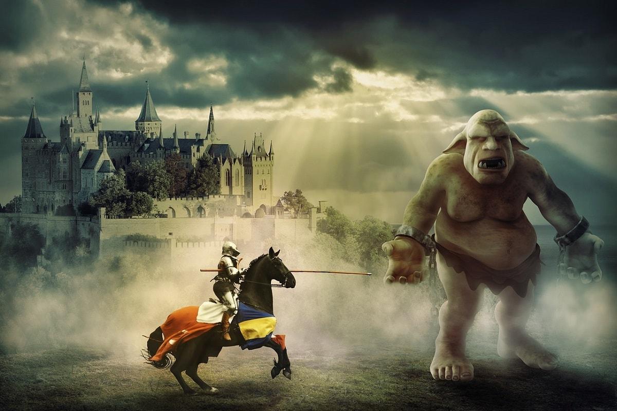 Ritter kämpft gegen einen Troll. (Foto: Papafox, Pixabay.com; Creative Commons CC0)