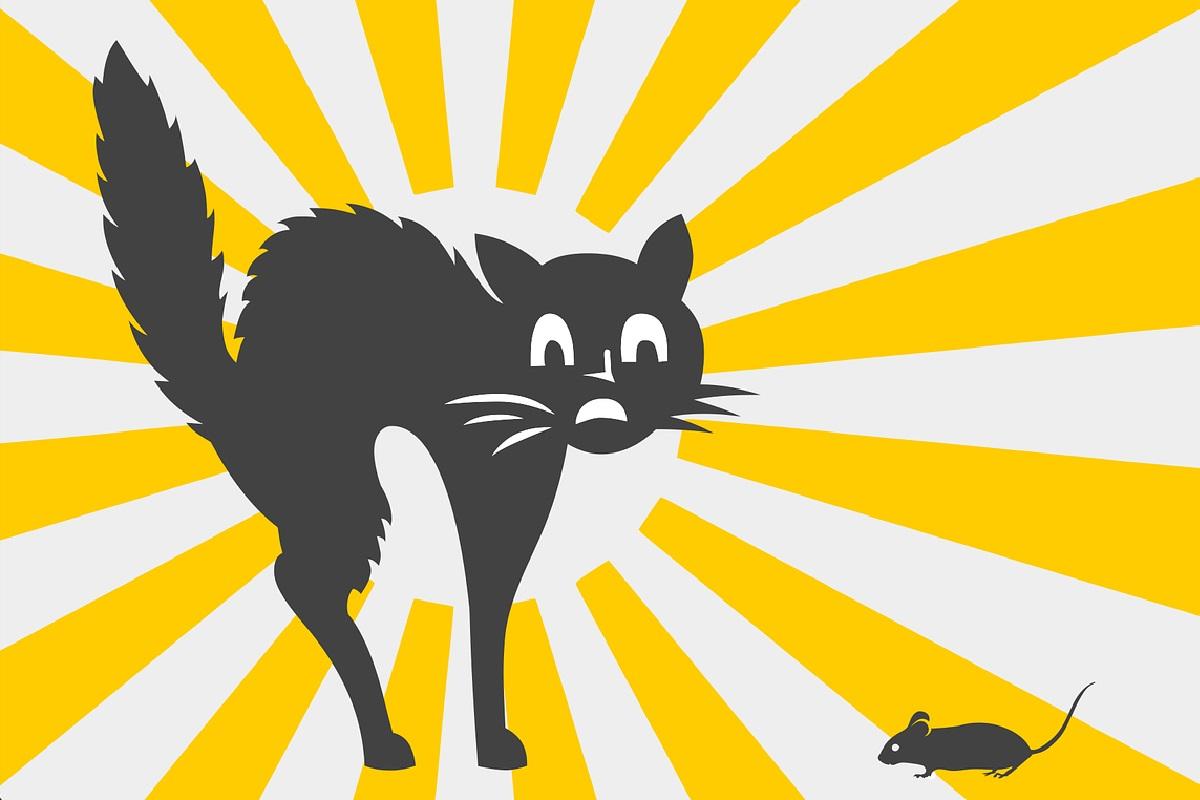Katze und Maus. (Illustration: Rafael Javier, Pixabay.com,Creative Commons CC0)