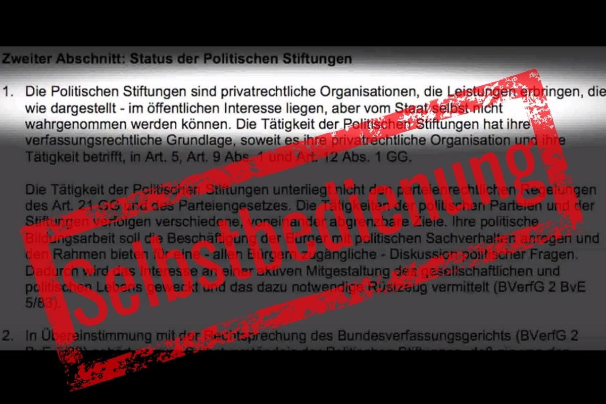 Die parallele Verwaltung und die Stiftungen 6+1 (Screenshot: Gaby Weber)